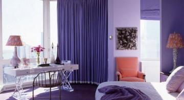 Interesting Luxury Bedroom with Purple Color Design Ideas