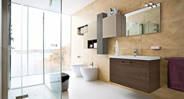 Inviting modern bathroom interior design with brown furniture