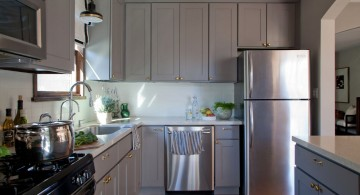 Light Gray Wooden Kitchen Cabinet Designs with Double Sinks