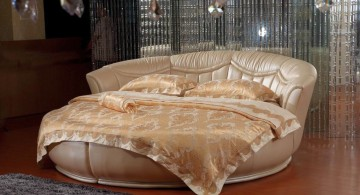 Luxurious round bedroom design with a comforter