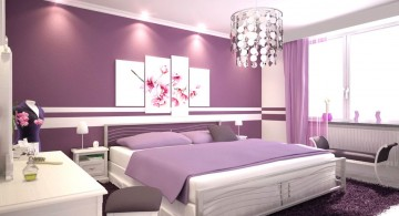 Modern Luxury Bedroom with Purple Color with chandelier