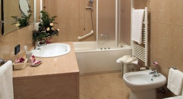 Modern designer bathroom vanities in contemporary bath interior