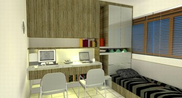 Natural colors in home office for small bedroom design idea