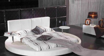 Round Bed Platform and Mattress in Modern Black and White Bedroom