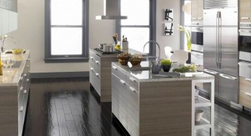 Simple Gray Kitchen Cabinets with Black Porcelain Countertop