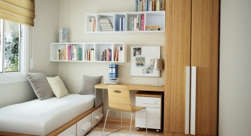 Small Home Office in Small Bedroom Using Bunk Bed with Built-in Drawers