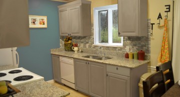 Small Kitchen Interior Featuring Gray Kitchen Cabinet Designs