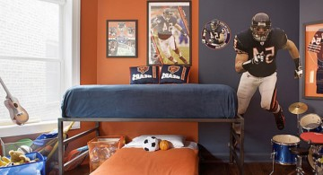 Sporty American Fottbal Themed RoomDecorIdeas forTeenage Boys Featuring Natural Wooden Floor and Orange Bedding
