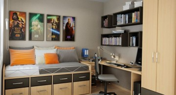Star Wars-themed Bedroom with Small Home Office Design