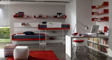 Stunning and briliant design idea of a red-colored home office in spacious bedroom