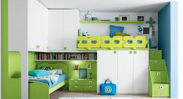 Stylish ModernKidsLoftBedsDesign Incorporating Green Forest-Theme and many built-in features