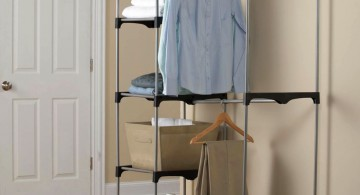 easy stacked laundry room clothes hanger racks designs