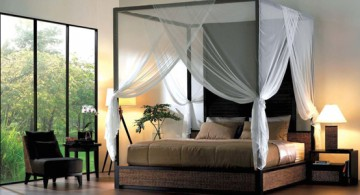 featured Zen-like master bedroom featuring dark-finished canopy bed sets