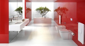 featured - modern bathroom interior design with dominant red color scheme