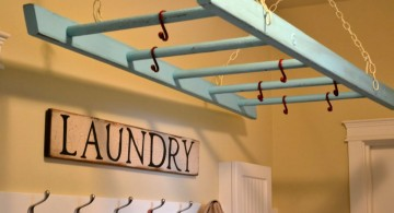 hanging laundry room clothes hanger racks designs using old stairs