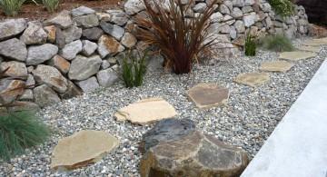 large rock pathway gardening with rocks ideas