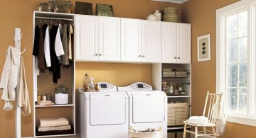 laundry room clothes hanger racks designs in small white room