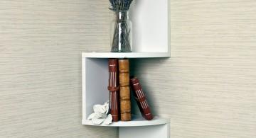 minimalistic small corner shelving unit