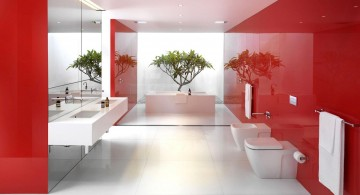 modern bathroom interior design with dominant red color scheme