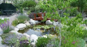 oriental inspired pool gardening with rocks ideas