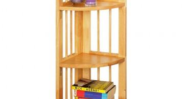 short three tiered small corner shelving unit