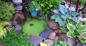 small pool gardening with rocks ideas
