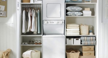 stacked laundry room clothes hanger racks designs for limited space
