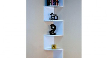 tall zig zag small corner shelving unit