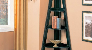 three shaped small corner shelving unit