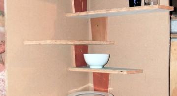 unique zig zagging small corner shelving unit