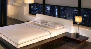 Asian inspired modern mens bedroom