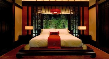 Asian style red and black bedroom