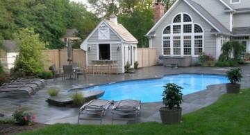 Backyard pool designs with stone deck