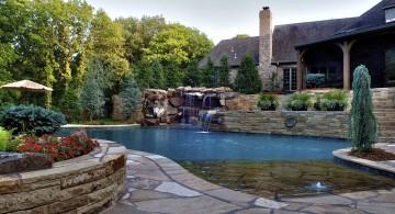Backyard pool designs with waterfall
