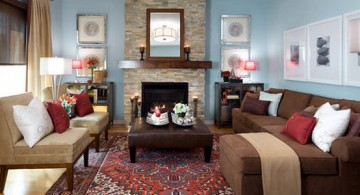 Blue and Brown Living Room Designs with Classy Red Rug