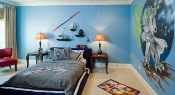 Interior color paint ideas for boys room featuring Yoda from Star Wars