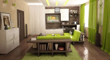 Japanese inspired lime green accent walls