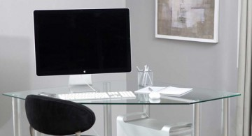 Modern clear acrylic corner desk for computer in home office