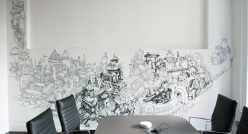 Simple continuous grafitti Cool wall painting designs for meeting room