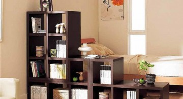 Unique Bookshelf Decorating Ideas Made of Dark Brown Wood
