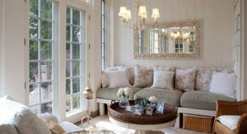 Victorian living room in white for small space