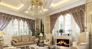 Victorian living room with beautiful valance and modern fireplace