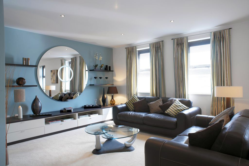 blue walls in living room living room decor in blue wall and black leather 21395