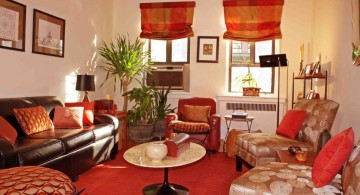african living room decor in retro red scheme