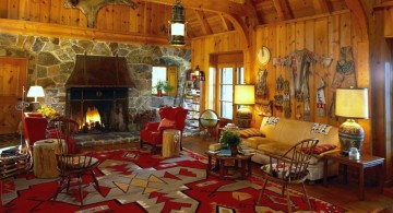 african living room decor in rustic style and full room rug