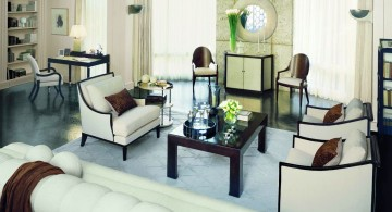 art deco living rooms in white and brown