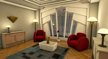 art deco living rooms with red sofas and unique wall