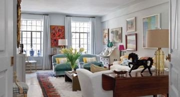 art deco living rooms with tosca and white sofas and plush rug
