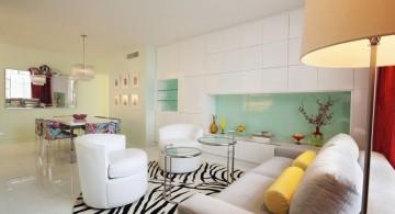 art deco living rooms with white contemporary sofa and zebra print rug