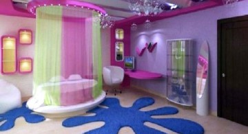 awesome rooms for girls with circle bed and splash rug